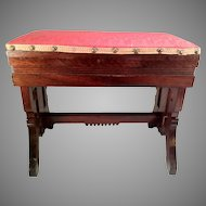 Antique Oak Sewing Stool w/ Hinged Lid - Cushioned Red Top