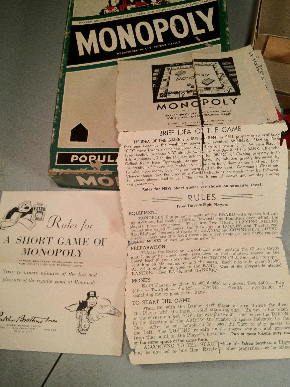 Monopoly Game From 1954 Tin Pieces Cards Money Titles Wood