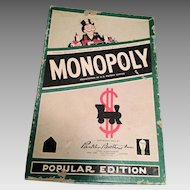Monopoly Game from 1954, Tin Pieces, Cards, Money, Titles, Wood Houses