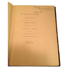 Book on Centennial Celebration for State of Kentucky, Filson Club, 1892