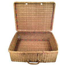 Vintage Woven Reed Cane Basket with Handle