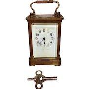 French Brass Carriage Clock Porcelain Face J E Caldwell & Co Runs