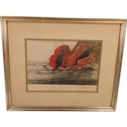 Currier and Ives Lithograph Terrific Combat Between the Monitor 2 Guns and the Merrimac 11 Guns