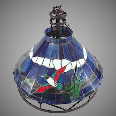Vintage Stained Glass Ceiling Chandelier Duck Decor with Metal Frame Milk Glass Globe