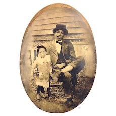 Vintage Black Americana African American Photograph in Frame with Concave Glass Man & Little Girl