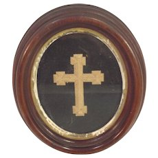 Religious Icon Wood Built Up Cross in Frame Mid 1800s