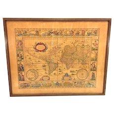 Antique World Map Nova Totius Terrarum Orbis Geographica Ac Hydrographica Tabula Originally Done by Willem Janszoon Blaeu Early 1600s
