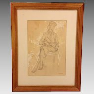 Vintage Pencil Drawing Entitled Fashion Model in Frame for Governor Thornburgh Gala of PA Charter Day from 1981