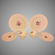 "Antique Copeland Spode Billingsley Rose China Pink (6.25"") 2 Tea Cups and Saucers Set and 2 Salad Plates (9-1/8"" Across) Old Red Mark"