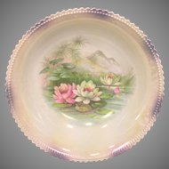 "Antique Porcelain PK Silesia 9-1/8"" Serving Bowl Water Lilies on Pond Germany"