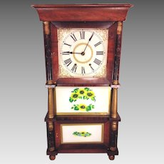Antique Triple Decker OG Clock Approp Weights Nice Wood Case Runs and Strikes Brass Movement Partial Label Maybe Ives of Bristol, CT is Maker?