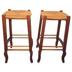 Pair of Vintage Bar Stools with Rus