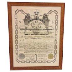 Vtg Master Mason's Certificate 1944 Framed Clifford Ellis Towson Claymont DE