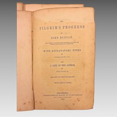 The Pilgrim's Progress by John Bunyan 1844 Illustrated Presbyterian Board of Publication  Philadelphia PA