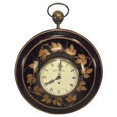 Vintage Warren Kessler Toleware Wall Clock Nice Metal Case Swiss Movement Not Running