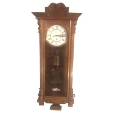 Antique Gustav Becker Vienna Wall Regulator Clock Nice Case Running Time Only Breitinger & Kunz Philadelphia 1879-1880