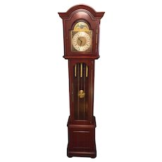 Vintage Daneker Grandfather Clock Diplomat Model Cherry Case Not Running Strikes and Chimes  3 Chime Options