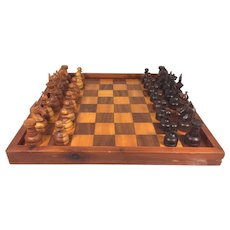 Vintage Carved Wooden Chess Set w/Inlaid Wood Game Board Felt Bottoms