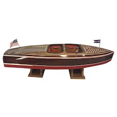 "Dumas Chris-Craft Runabout Remote Control Boat w/ Astro-21 Motor 1938 Model #1241 w/ Stands 43.5"" Long"