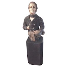 Vintage Admiral Perry Figurehead (War of 1812) Cast Sculpture of Painted Resin/Gesso or Metal on a Chamfered Plinth Base