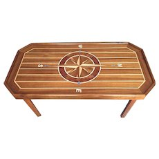 Vintage Compass Rose Custom Made Table Wood Inlaid Mother of Pearl & Varnished