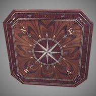 Vintage Compass Rose Custom Made Wall Plaque Medallion Inlaid Mother of Pearl & Varnished