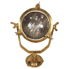 Vtg Stanley Brass Gold Lacquered Ship Floodlight Glass Intact Ready to Be Wired