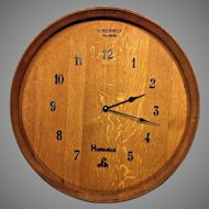Vintage Wood Wine Barrel End Clock Quartz Movement Running Bordeaux France Hungarian