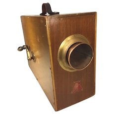 Antique Portable Rotary Foghorn in Wood Case Metal Labels Makes Noise Bent Handle