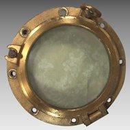 Vintage Brass Ship's Porthole w/ Glass #2 of 2 2 Two Dog Ears WWII Era