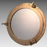 Vintage Porthole Mirror Metal Frame w/ Gold Colored Lacquer