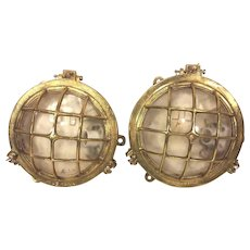 Vintage Pair of Brass Wall Mount Nautical Lights Dae Yang Brass Cases & Glass Intact Name on Glass & Case