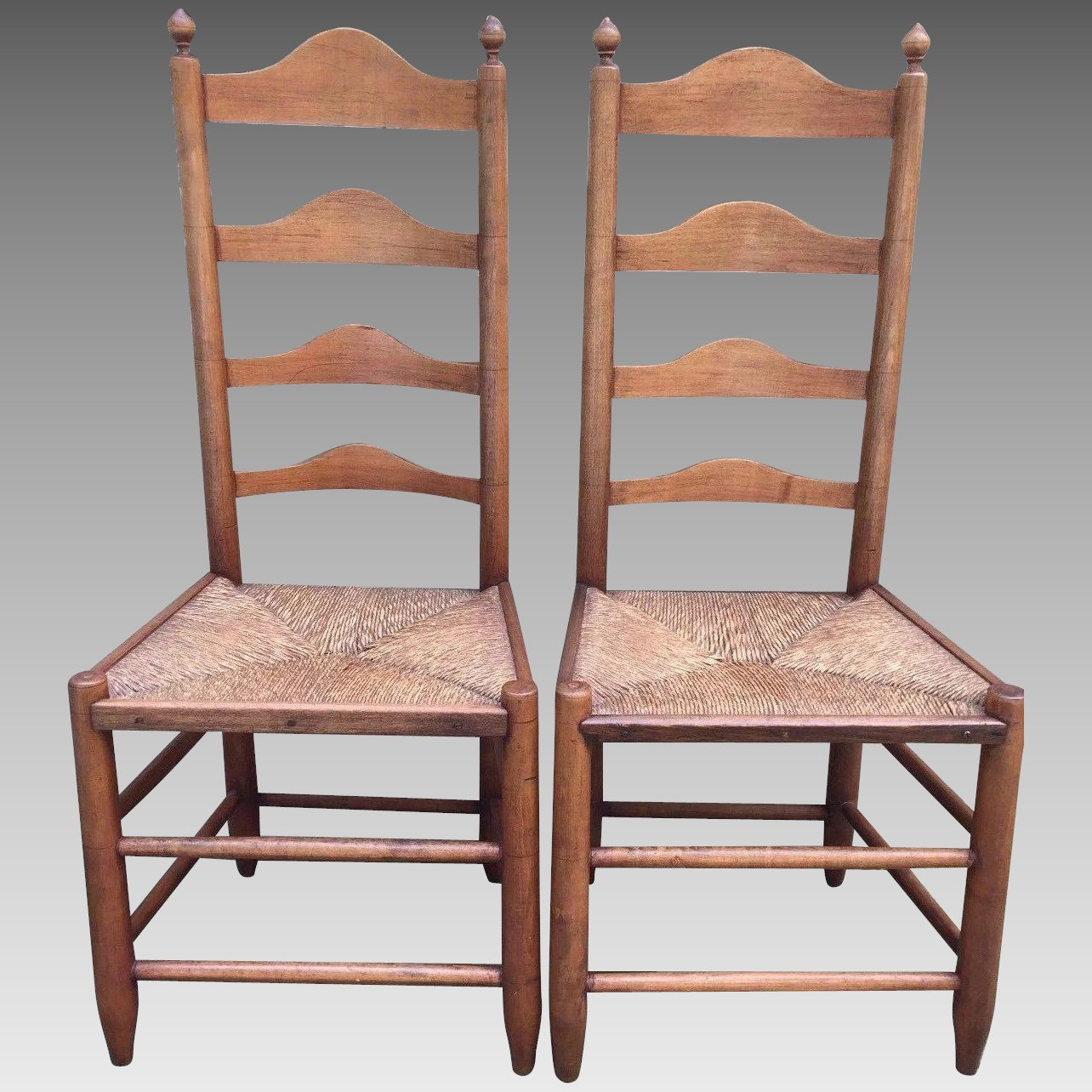 Click to expand - Antique Pair Of 18th Century Ladderback Chairs Rush Seats American