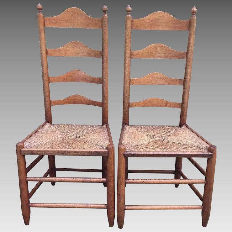 Antique Pair Of 18th Century Ladderback Chairs Rush Seats American Made
