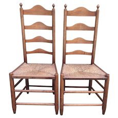 Antique Pair of 18th Century Ladderback Chairs Rush Seats American Made  sc 1 st  Ruby Lane & Rush Chair Furniture u0026 Lighting | Ruby Lane