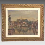 "Vintage Maurice Van Felix Oil on Canvas ""Fishing Shrimp Boats"" Signed by Artist"