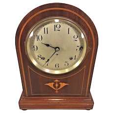 Seth Thomas Westminster Chime Mantel Clock Inlaid Wood Case Doric Model 4 Rod Strike Runs Strikes Chimes