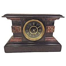 Antique Welch Faux Marble Mantel Clock Possibly Reno Model Runs & Strikes  Soon After Ingraham Acquisition