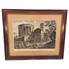 Francesco Morelli Pair of Late 1700 Engraving  Temple de la Sibylle at Ville de Tivoli Framed & Matted