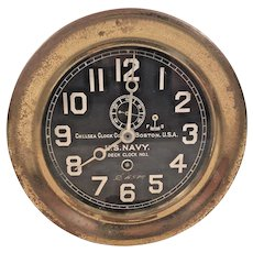 "Chelsea Deck Clock No 1 Ships Clock Running  World War I Era  Large 7.25"" Bezel  Rare & Unique Clock 1901-1902 and 1918-1919"