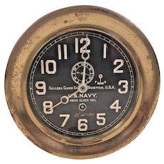 """Chelsea Deck Clock No 1 Ships Clock Running  World War I Era  Large 7.25"""" Bezel  Rare & Unique Clock 1901-1902 and 1918-1919"""