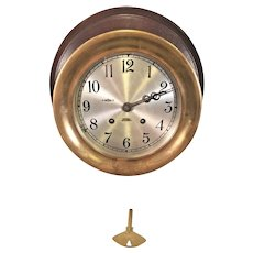 "Chelsea Ship's Bell Clock Running & Striking 7.25"" Bezel Mounted on Wood Board Serial Number 740069 - Made 1968 to 1969"