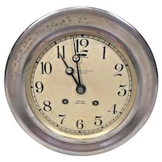 "Chelsea Ship's Bell Clock Running & Striking 7.25"" Bezel Nickel Plated Lacquer Finish Serial Number 148970 - Made Circa 1922"