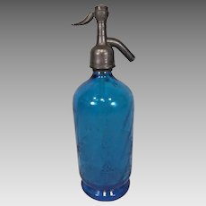 """Antique French Blue Glass Seltzer Bottle with Topper Etching of Maker Van Reck Blankenberghe  """"Fabrique D'eaux Gazeuses Van Reck Blankenberghe"""""""