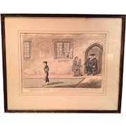 "Antique Colored Engraving of ""Rake's Progrefs at the University"" H. Humphrey 1806"