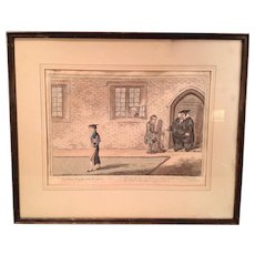 """Antique Colored Engraving of """"Rake's Progrefs at the University"""" H. Humphrey 1806"""
