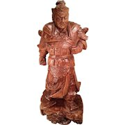Vintage Asian Warrior Wood Carving Arnold Frank Unknown Artist