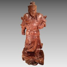 Vintage Asian Warrior Wood Carving Arnold Frank Unknown Artist