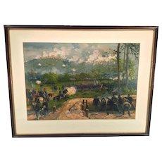 Antique Louis Prang Civil War Aquarelle Chromo Lithograph Battle of Kenesaw Mountain