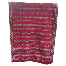 Antique Hand or Loom Woven Wool Rug or Throw Turkish or Moroccan